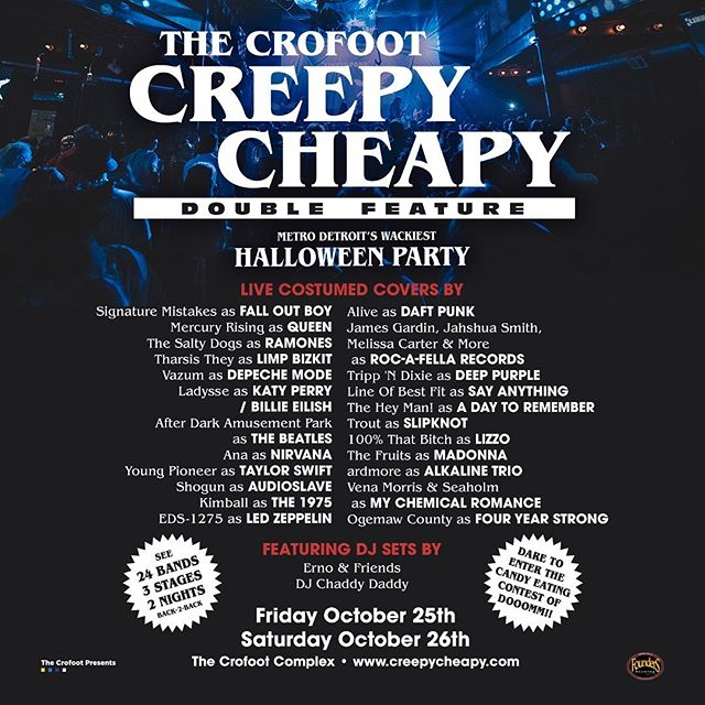 People of earth. The 2019 @thecrofoot #creepycheapy lineup is upon us. Gaze upon its glory. Then consider buying tickets. Link in bio.