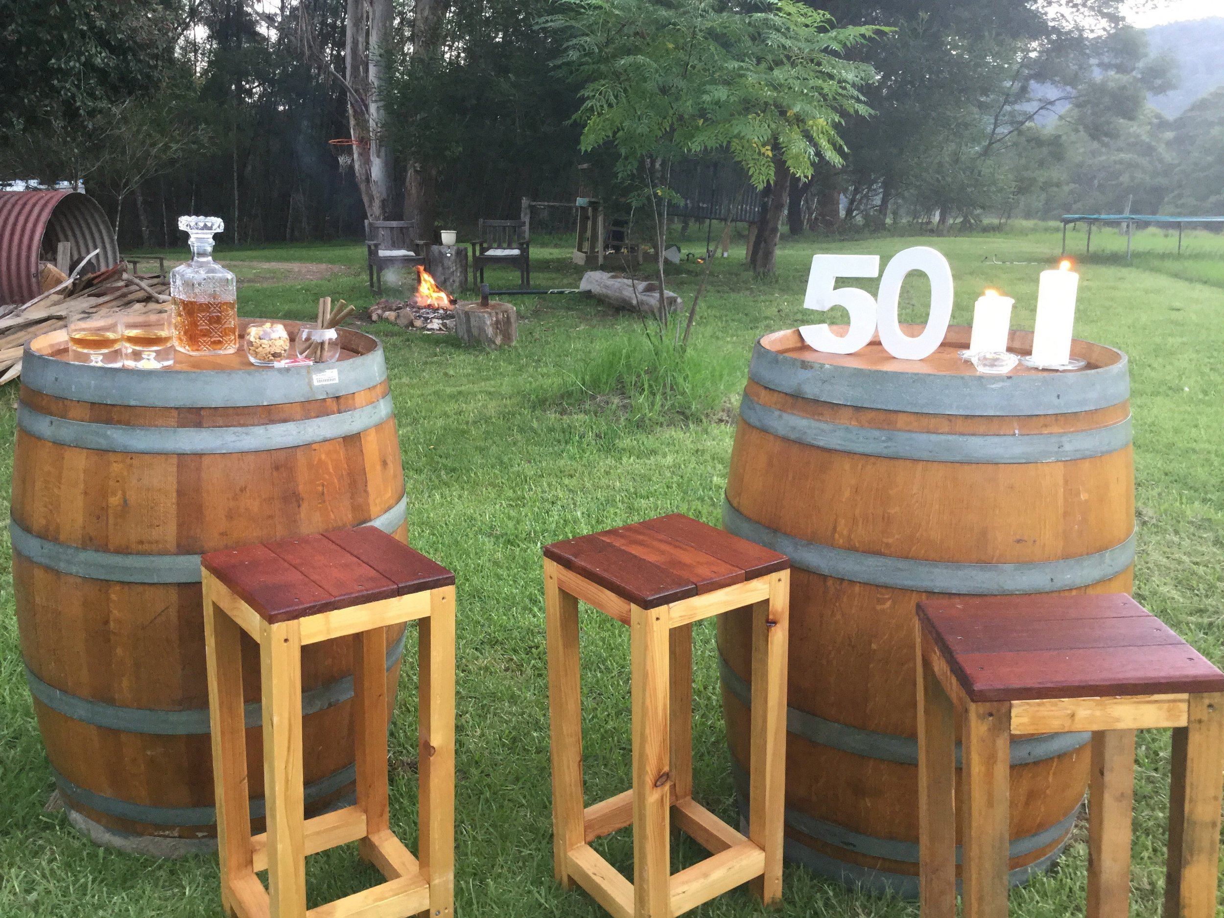 Wooden Wedding Event Hire Wine barrels are one of our most popular Item along with our bar stools.