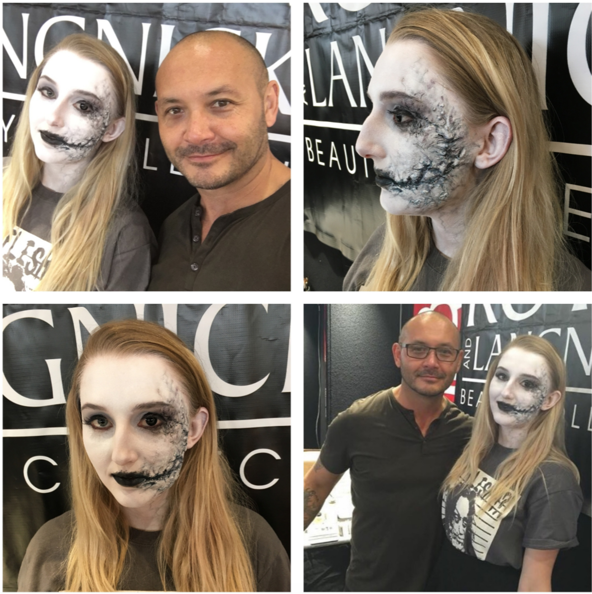 My ZomBeauty makeup done on Bonnie for Sydney IMATS 2015.....Day One.  I did this makeup using some of my Got Flesh Prosthetic Transfers for the scarring and gore. The base color was the new Ben Nye White ProColor Airbrushable makeup. The rot mottling was a mix of airbrushing and hand brush. The lip color used was Ben Nye Black Cream Makeup. Lashes were used in the eye makeup. For a little detail and cherry on top, Bonnie brought in her oversized black contact lenses, just for her left eye.
