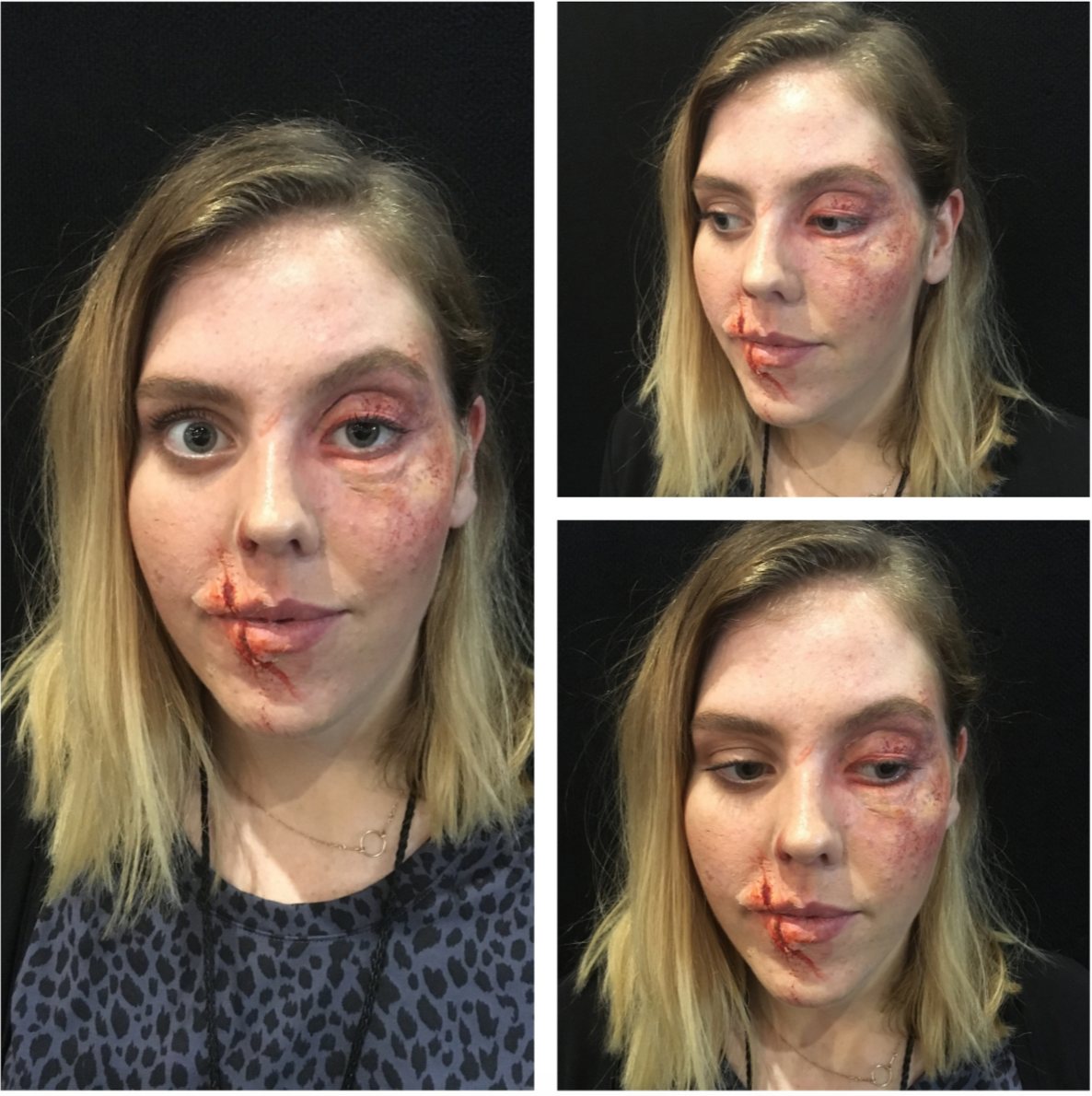 Second half of Day One at Sydney IMATS 2015....I got to beat up Jess with some pieces from the Got Flesh!?! Fighter Kit. Coloring was a mix of Scotty's Tattoo Palette and Ben Nye Creams makeups.
