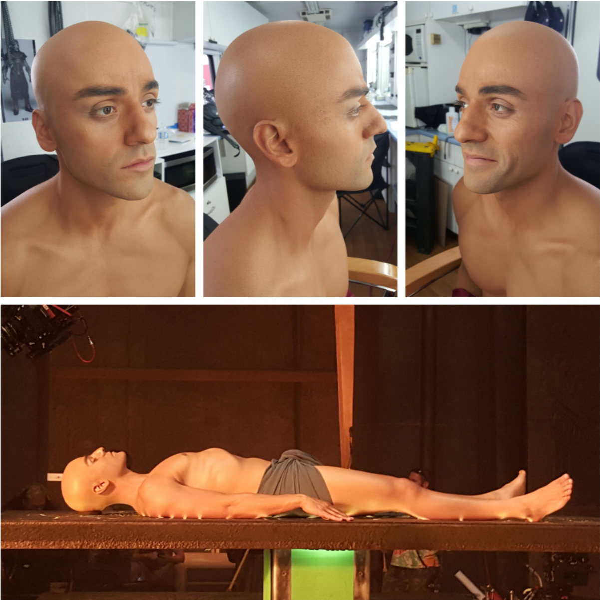 Here is another makeup that we did in Montreal for XMen - Apocalypse. I gotta say... I'm pretty proud of this one. In the film, we are meant to see Egyptian Oscar before his is transformed into Apocalypse.  Alexei Dmitriew @hookuptattoos, and I did the initial test, figuring out the best path to choose to make Oscar look realistically bald. If you have seen his movies or seen images of Oscar, you know he has a lot of dense curly hair. And due to obligations for a film right after XMen, he couldn't shave his head. Luckily, for the Apocalypse makeup we already had to keep his hair pretty 'high and tight'. I was able to convince him to shave up some of his nape so that we could anchor the bald cap in a non moving area. Ok.. Yes... A bit of a cheat... But look at the results. Believe me.. A bald cap is one of the toughest things to pull off on a set, have it be successful and last all day. So many things to go wrong and so many ways for the makeup to break.  For the shoot day, Mike Ornelaz @mikeornelaz, and I did the bald cap. He was in it for about 8 to 9 hours, and it held up great.  On a side note, the scene was massive and HOD Rita Ciccozzi, her Key, Rosalina DaSilva @rosalinamakeup, and their team had a ton of people to make up that day too. Kudos!!!!