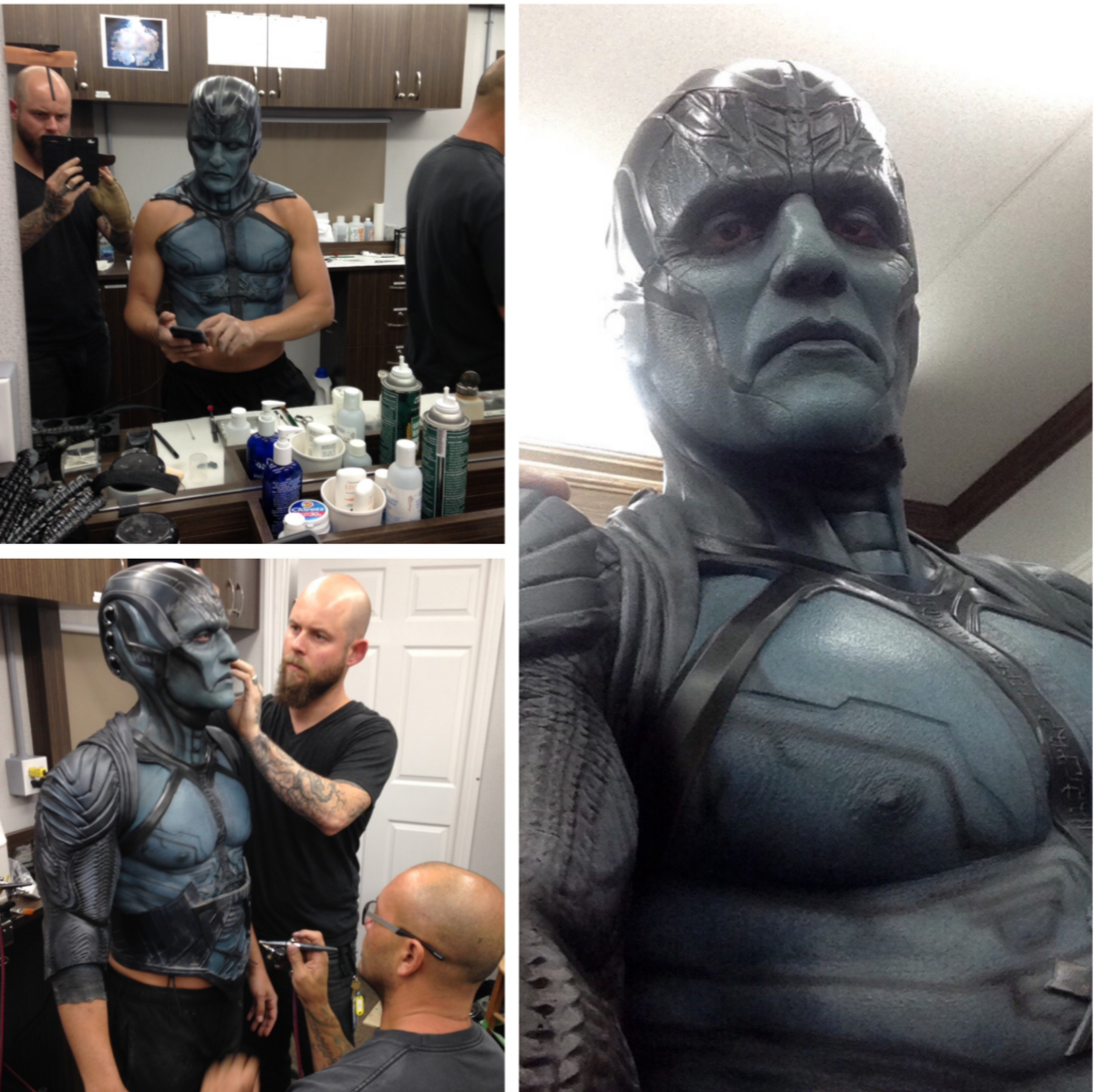 Behind the scenes in MTL representing Legacy Effects.  Alexei  Dmitriew @hookuptattoos and I applied Oscar's makeup for Apocalypse.  This is for the end sequence where his armor gets blasted away. The  Apocalypse makeup consisted of a urethane head piece, silicone  neck/cowl, silicone forehead, face and lower jaw. It usually took us  around 1 1/2 hours to do the face makeup when he wore his armor. With  the added silicone chest and back painting and tattoos (provided by Hook  Up Tattoos) we added an extra 30 minutes to the application time.