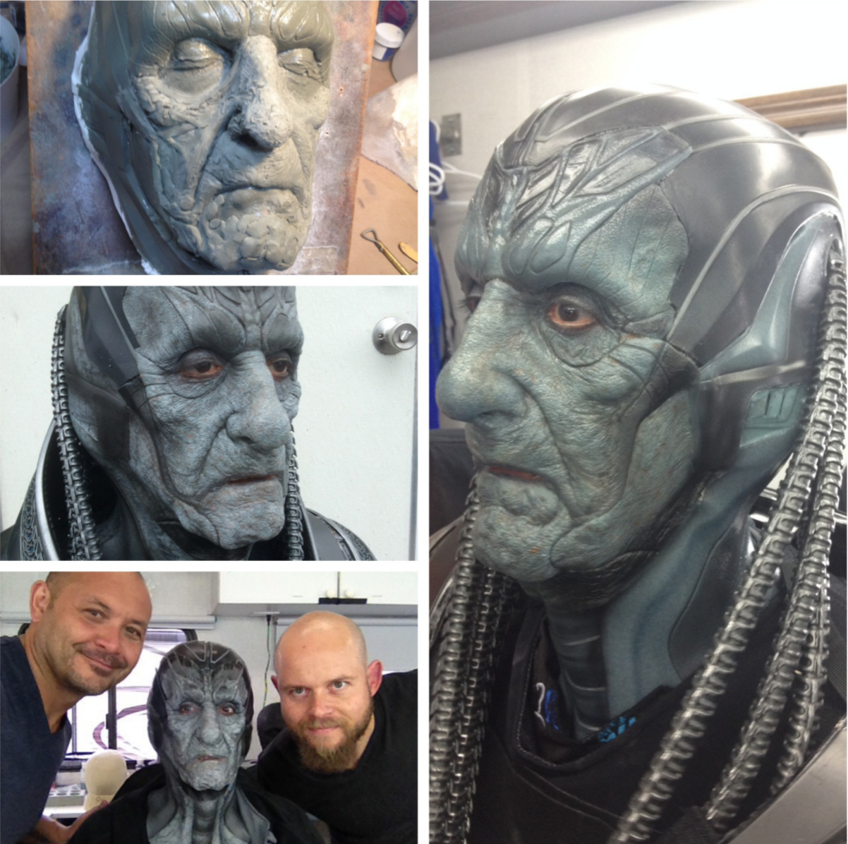 """Another fun character that we got to create at Legacy Effects....""""Old Apocalypse.""""  We  utilized some of the same elements from Oscar's makeup, so that there  would be a through line for the characters. Truth be told, the actor  Berge', had a great face to start with. It made creating the old and  weathered version Apocalypse easier. I roughed in the sculpture, then  Scott Stoddard @chewmakdatchosef , and I refined the shapes and took it  to final detail. From there it moved through the machine which is Legacy  Effects through the molding and silicone departments. If this passed  through your hands... Please tag yourself.  Once in Montreal,  Alexei Dmitriew @hookuptattoos, and I did the first makeup test. We did  him in grey tones with a lot of warm under tones. I really liked this  version best. Singer wanted him to have more of a connection to the  Oscar version, so he wanted to see a test in the Apocalypse real color.  That is the final version that makes it to screen (I hope). During the  shoot days, Alexei, Scott and Sabrina Wilson @sabswilson applied the  makeup."""
