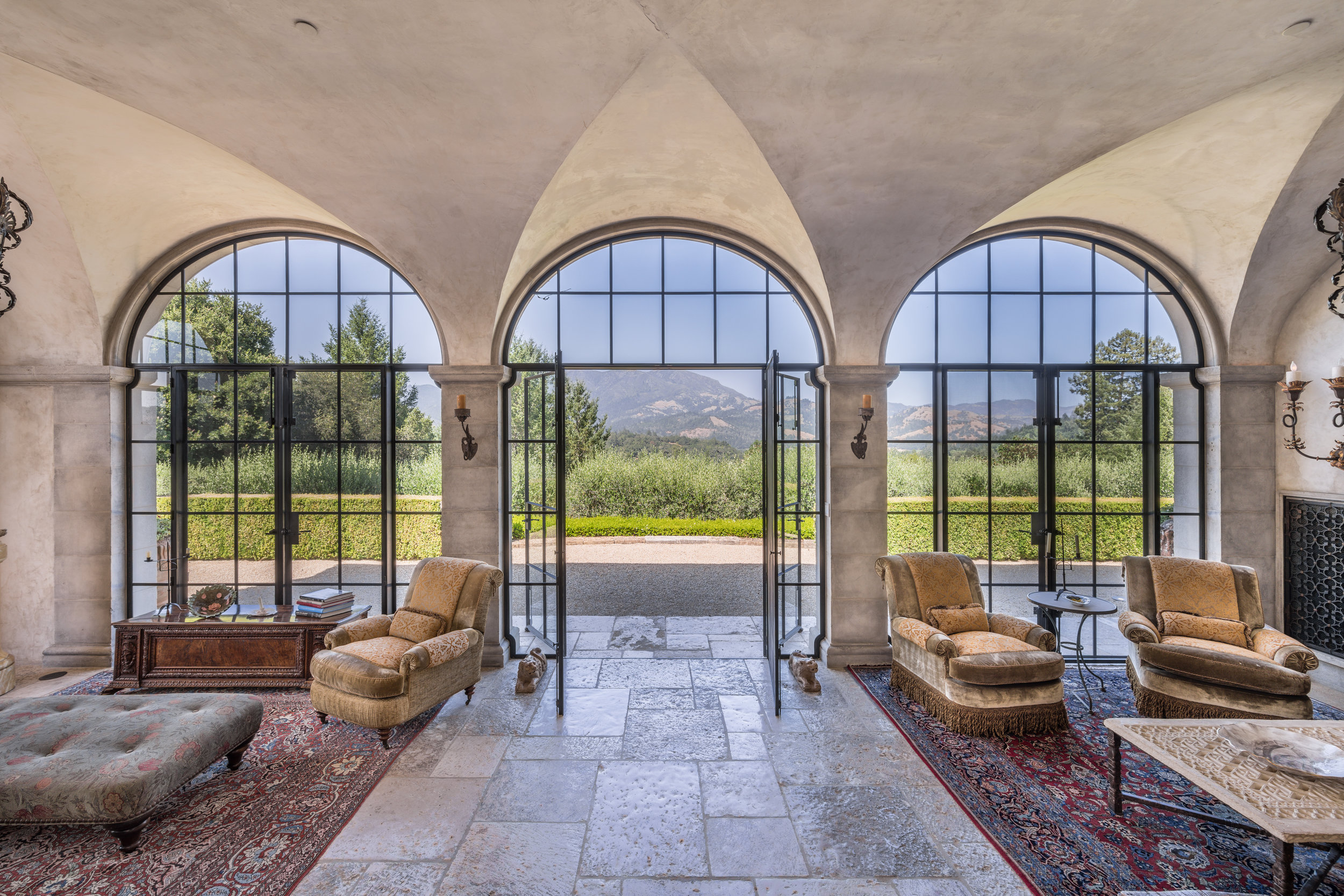 A view from the loggia looking directly at Mt. St. Helena