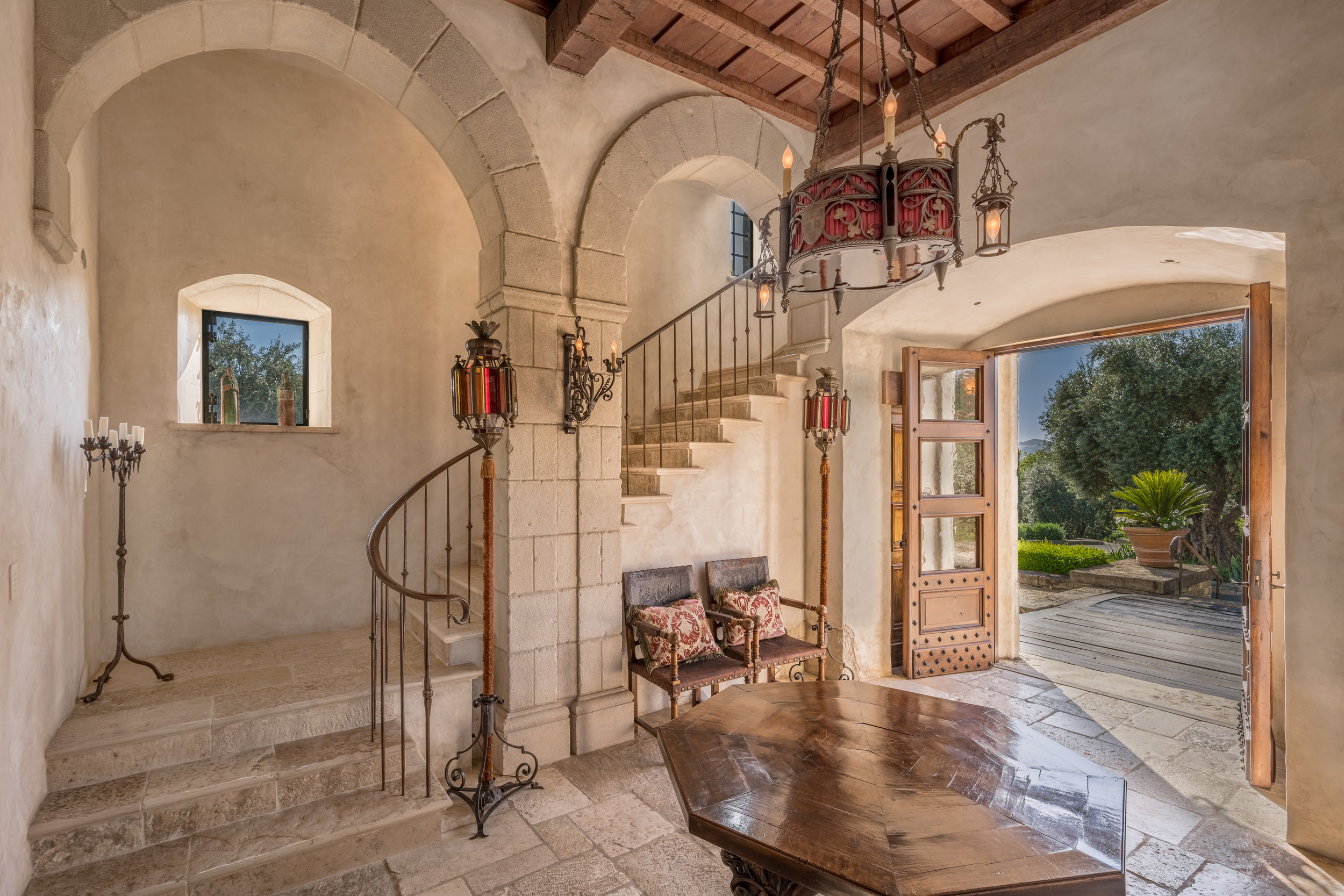 Stunning entrance to the Villa. Every detail has been handcrafted.