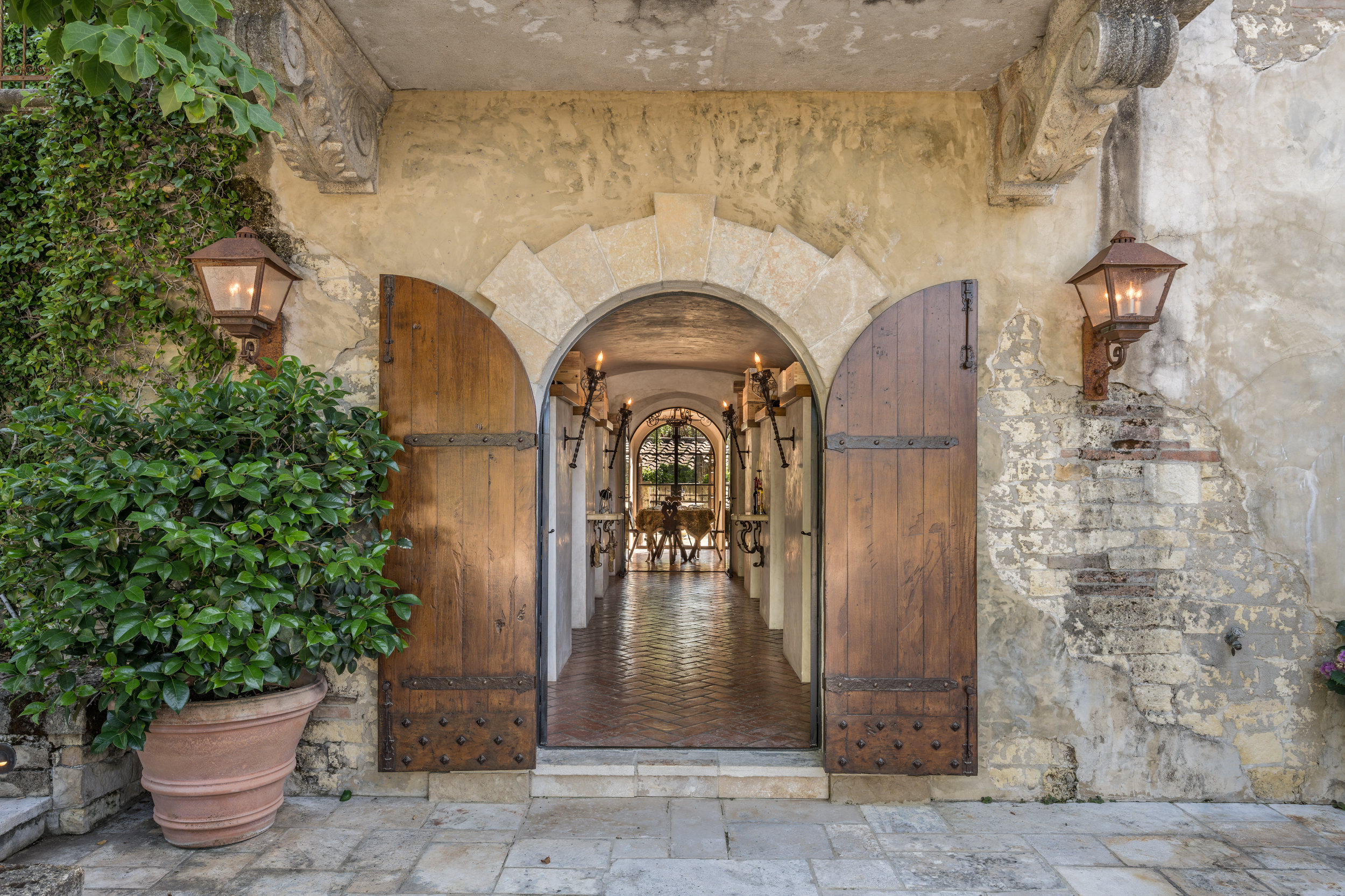Entrance to the wine cellar and tasting room.