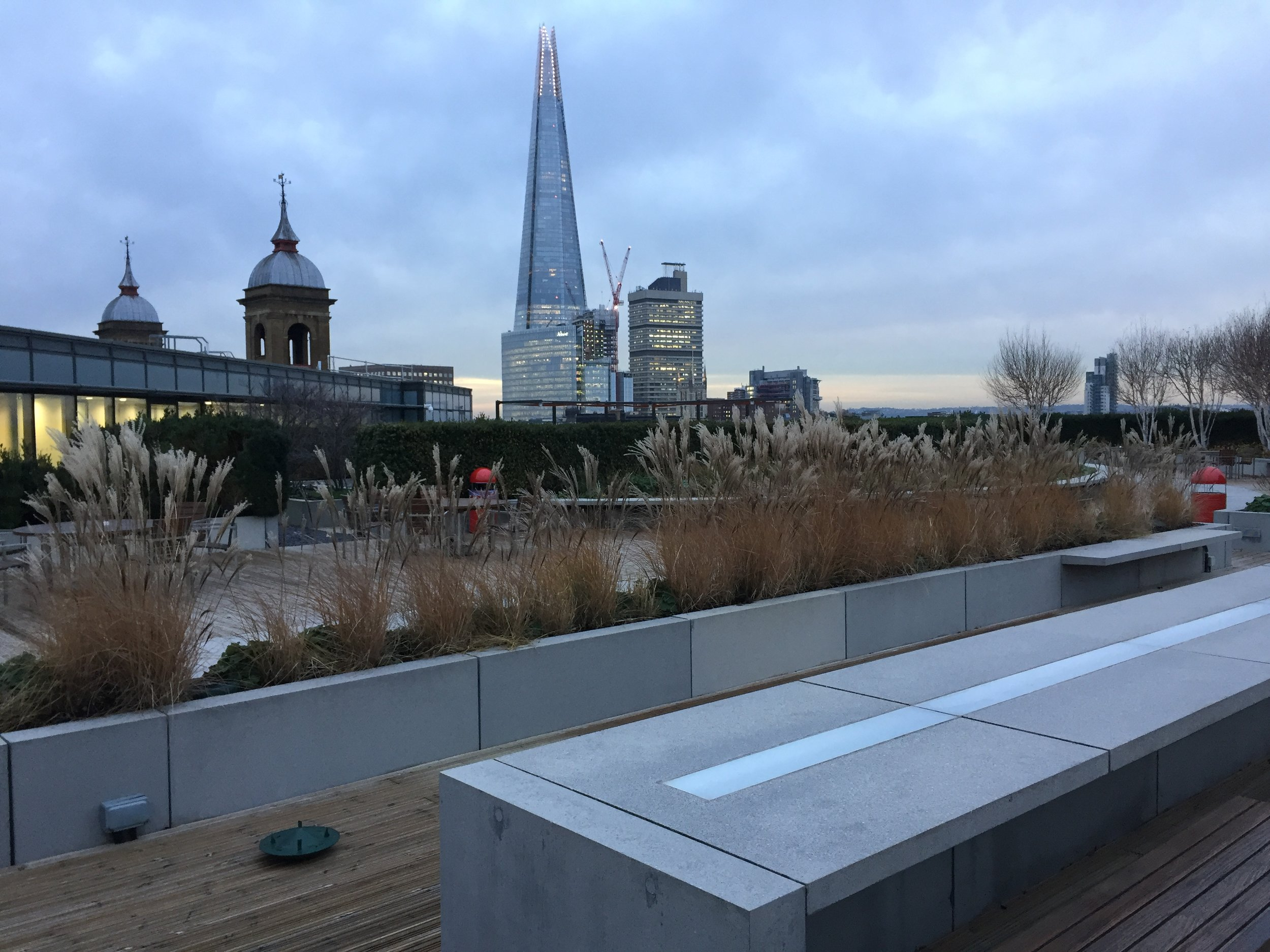 Stunning Rooftop Views at Queen Street Place - PLACE provided a new landscape design for the redeveloped roof terrace at Queen Street Place. Located on the banks of the Thames in the City of London, it is the perfect setting to enjoy views of the city in the winter evening light.December 2018