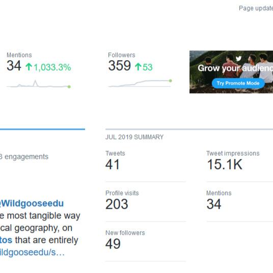 Wildgoose Education Twitter analytics