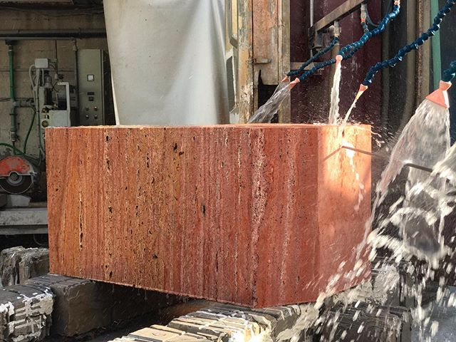 Red Travertine !  #red#travertine#block#cutting#marble#stone#nature#pictureoftheday#new#love#luxury#interiordesign#design#homedecor#decor#designer#factory#marmgroup#beirut#lebanon