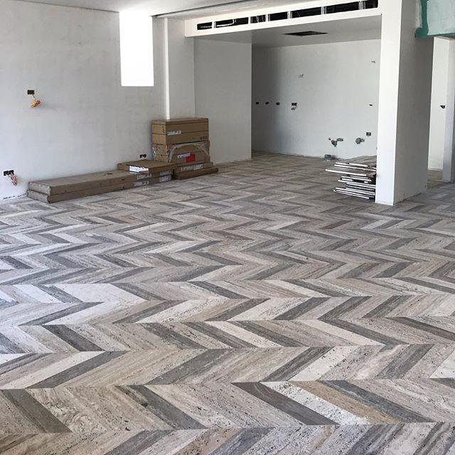 Travertino chevron .  #travertino#marble#chevron#effect#love#stone#colors #modern#luxury#design#decor#workinprogress#picoftheday#interiordesign#lebaneseinteriordesigners#home#factory#lebanon#beirut#marmgroup#italy