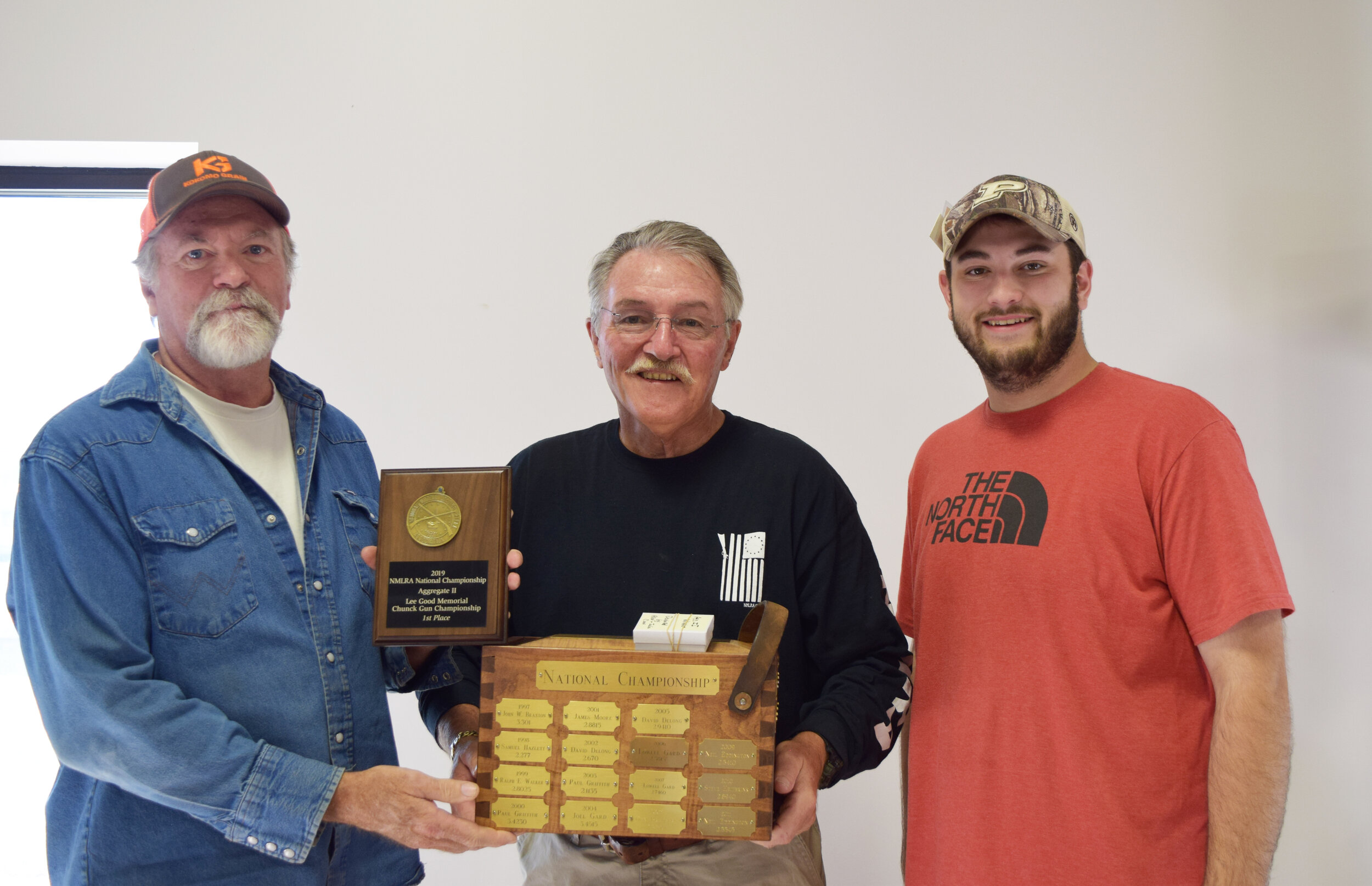 William Wonning - Aggregate II - Lee Good Memorial Chunk Gun Championship Winner with NMLRA President Brent Steele and Director Colton Fleetwood