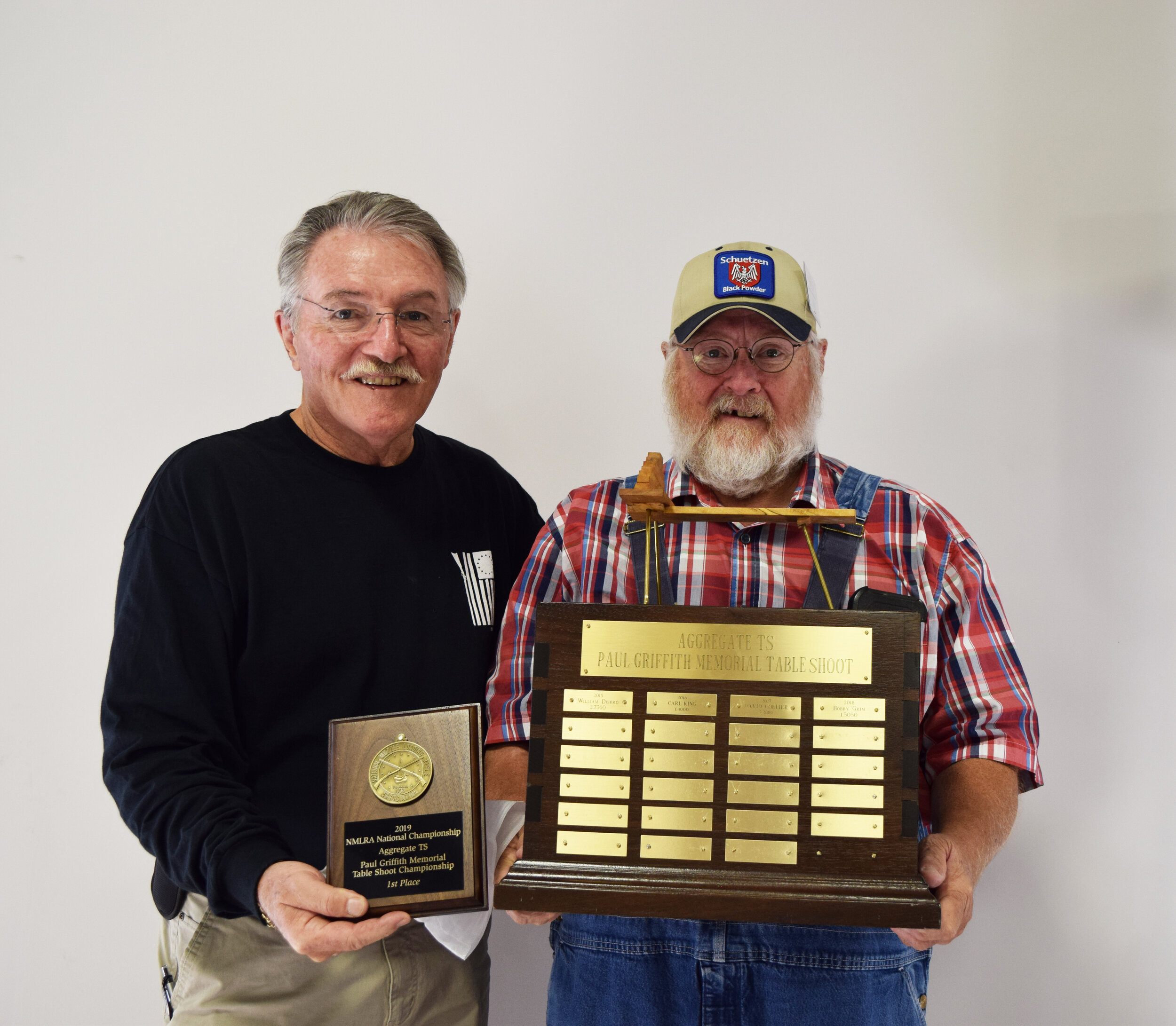 Carl King - Aggregate TS - Paul Griffith Memorial Table Shoot Championship Winner with NMLRA President Brent Steele - Carl also sat a new record score with this aggregate.