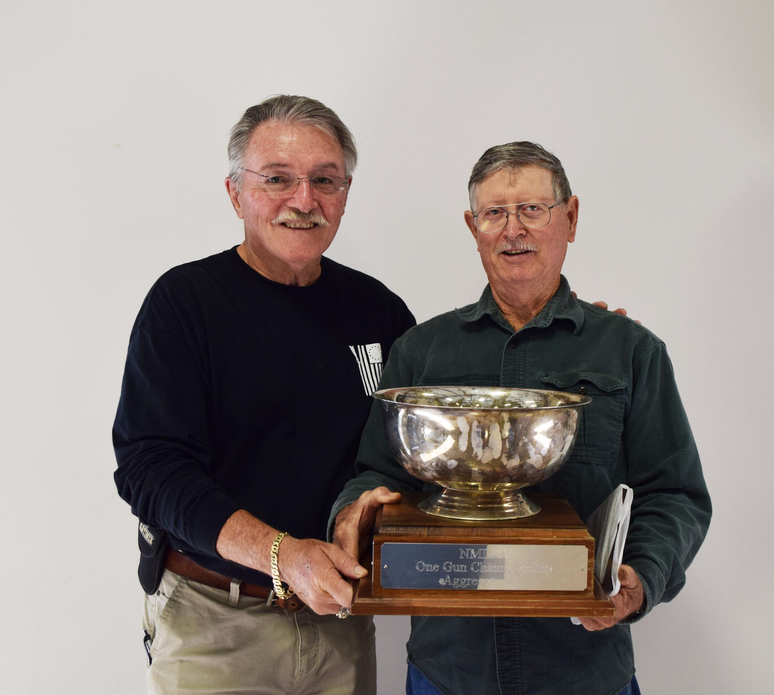 J.L. Hargis - Aggregate KK - One Gun Championship Winner with NMLRA President Brent Steele