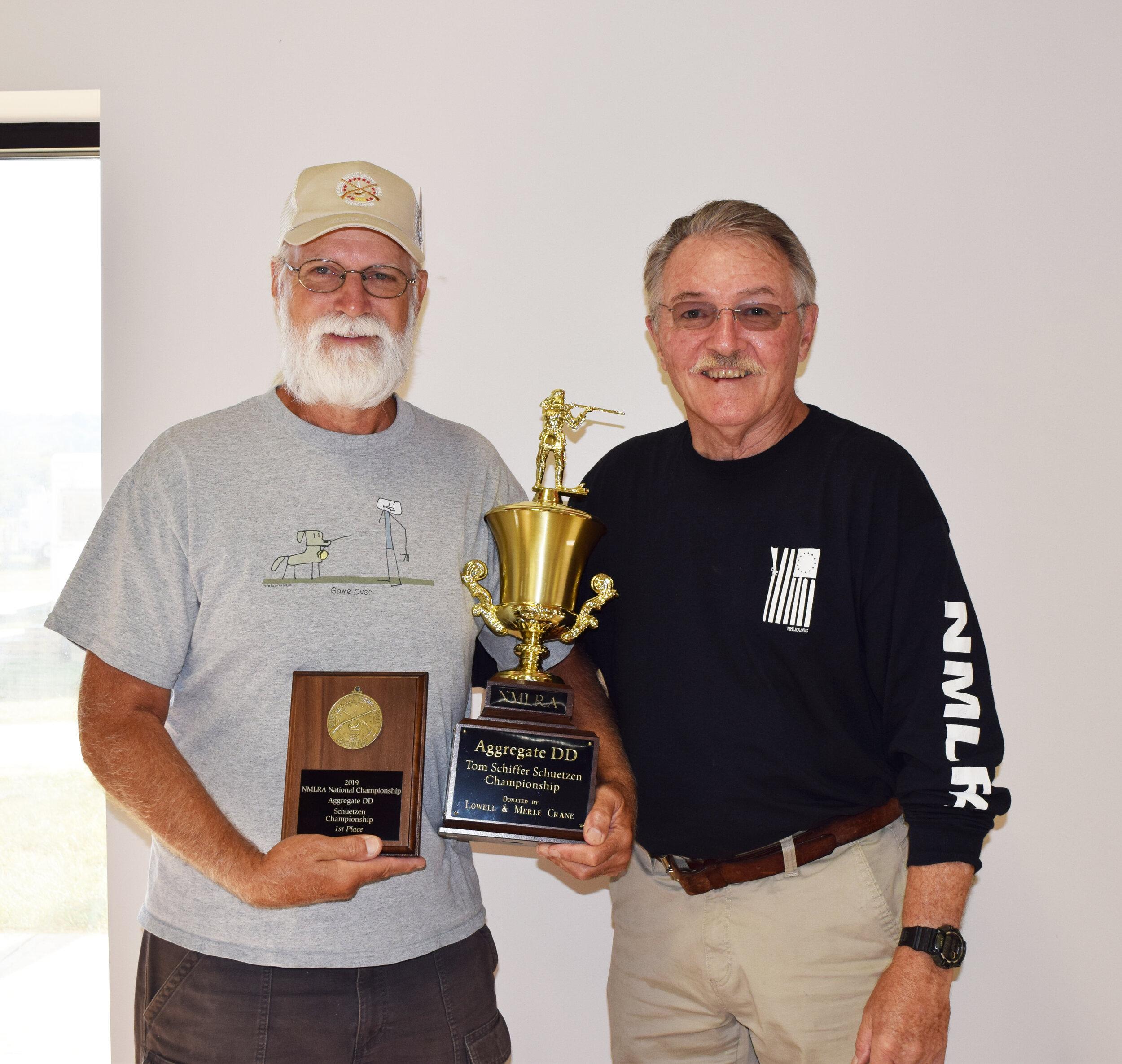 Lowell Crane - Aggregate DD - Tom Schiffer Schuetzen Championship Winner with NMLRA President Brent Steele