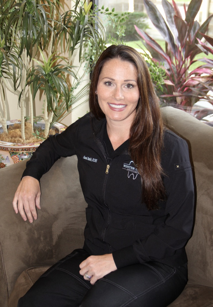Sarah Smith - Sarah Smith was a military brat but moved to the League City area when she was 11 years old. Sarah received her Associates degree in Dental Hygiene in 2008 from Del Mar College. She has been with Webster Dental Associates since 2009 and has developed a strong and lasting relationship with so many of our patients.She and her husband, Dustin, have two children, Carter and Kylie. In her spare time, Sarah enjoys spending time with her family and friends.