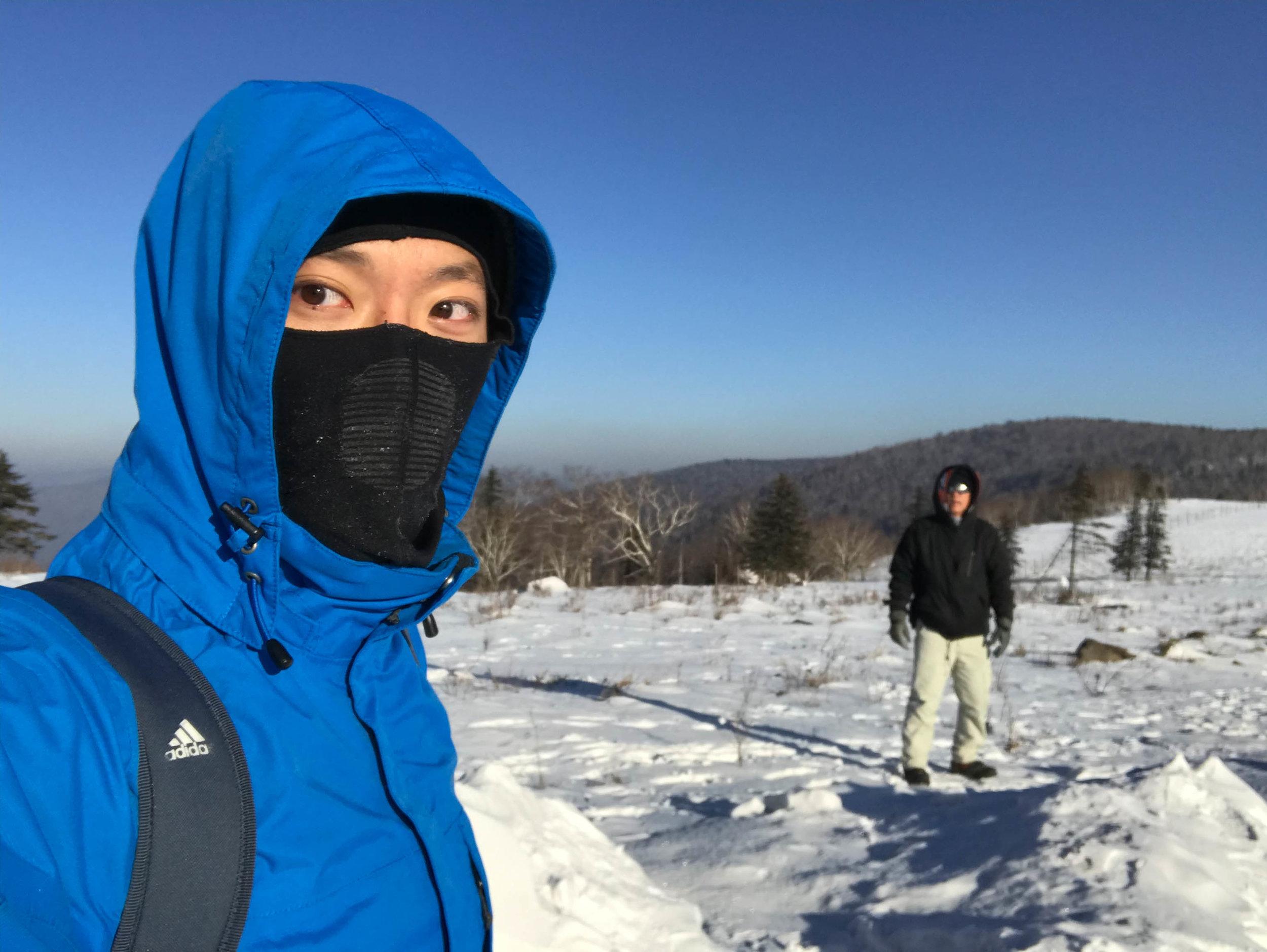 Trekking in sub-zero Harbin snow.