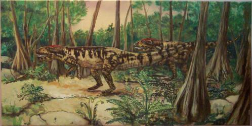 Triassic Painting, Postosuchus, by LaGina Fairbetter