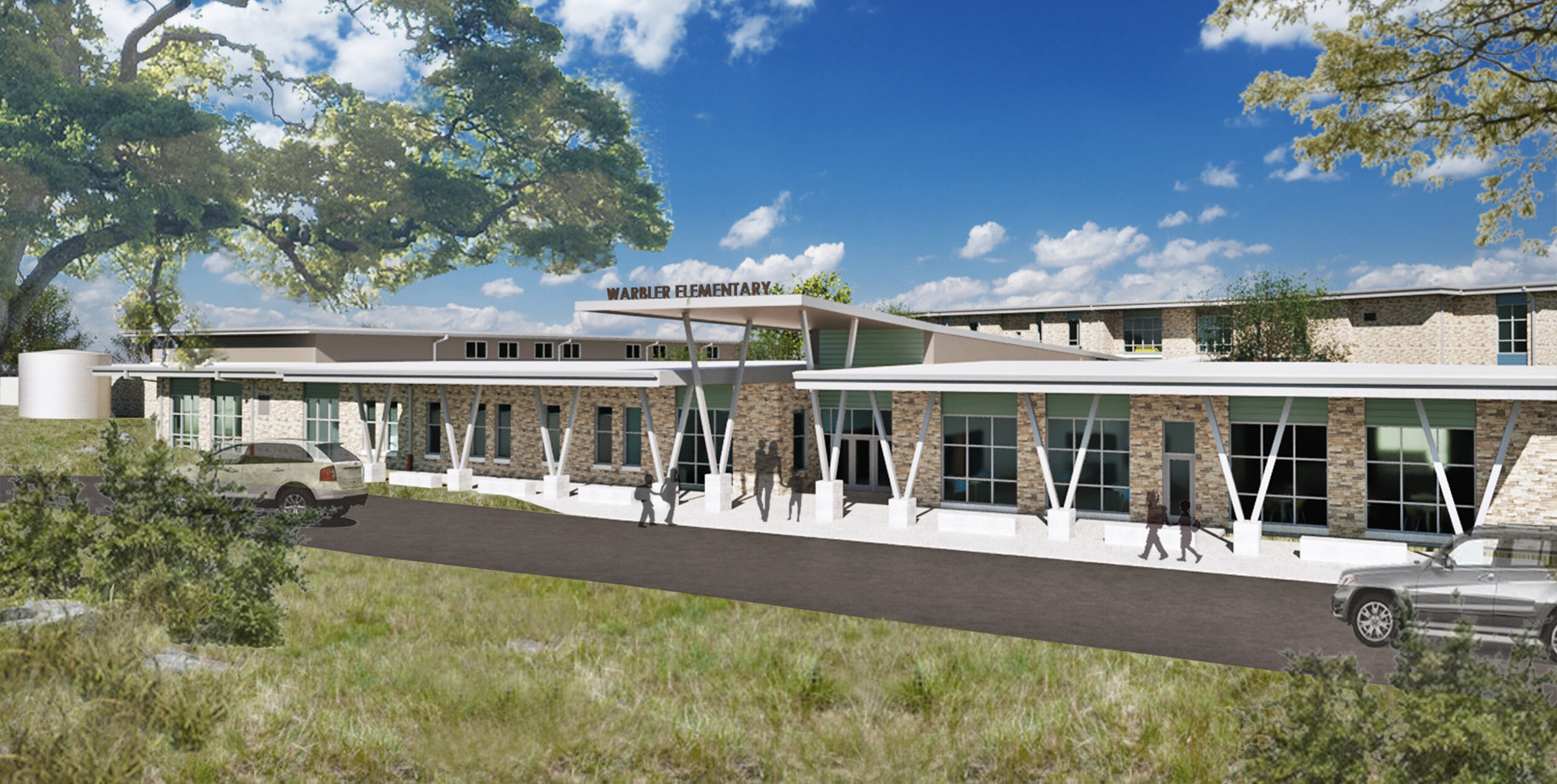 New Southwest Elementary School, AISD, Austin, TX  Student Success | Sustainability | Media Center | Fitness | Dining