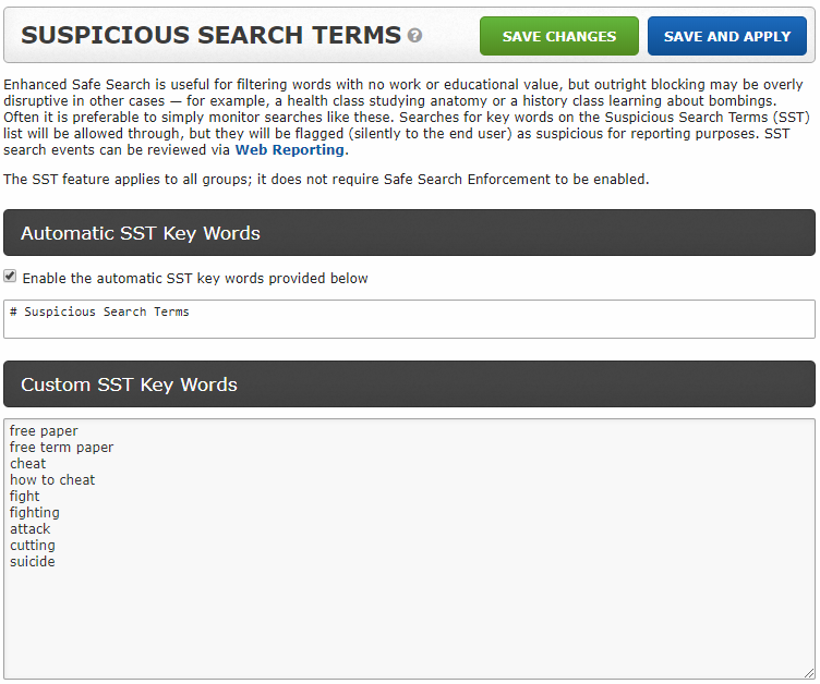 Search Term Reporting - What might be more important than knowing where someone went, is knowing how they got there. Was it an accidental click or a purposeful search? Use Cipafilter's Suspicious Search Term (SST) reporting to:- Stay aware of potentially dangerous searches- Gain insight into users browsing motivesA user may be researching how to detect suicidal symptoms, or reaching out for help. Between notification alerts and powerful search reporting tools, you can act as needed.