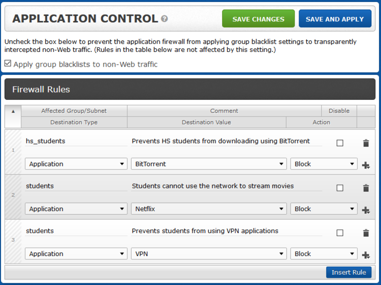 Application Control - This is a big deal. Stop playing whack-a-mole with different ports to block domains and applications. Control the feature by group, subnet, or application type. Give teachers access to music streaming services without letting students drain valuable bandwidth. Or, let teachers use VPNs without giving students the ability to bypass filtering. You can tighten security without causing teacher riots. All made possible with background technologies like our proprietary DPI and TLS/SSL inspection.