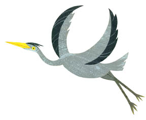 Great blue heron by Kate Endle for Katharine's  Where's the Party?