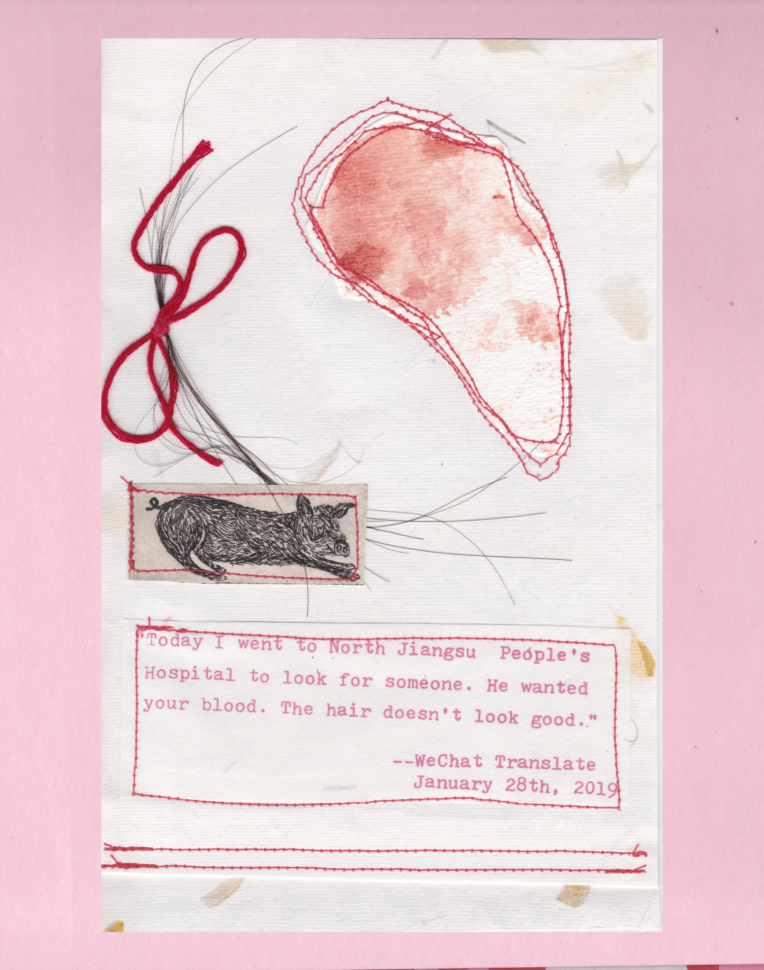 """Offering,"" stitched silkscreen, etching, hair, and menstrual blood on handmade floral paper, artist proof (AP)"