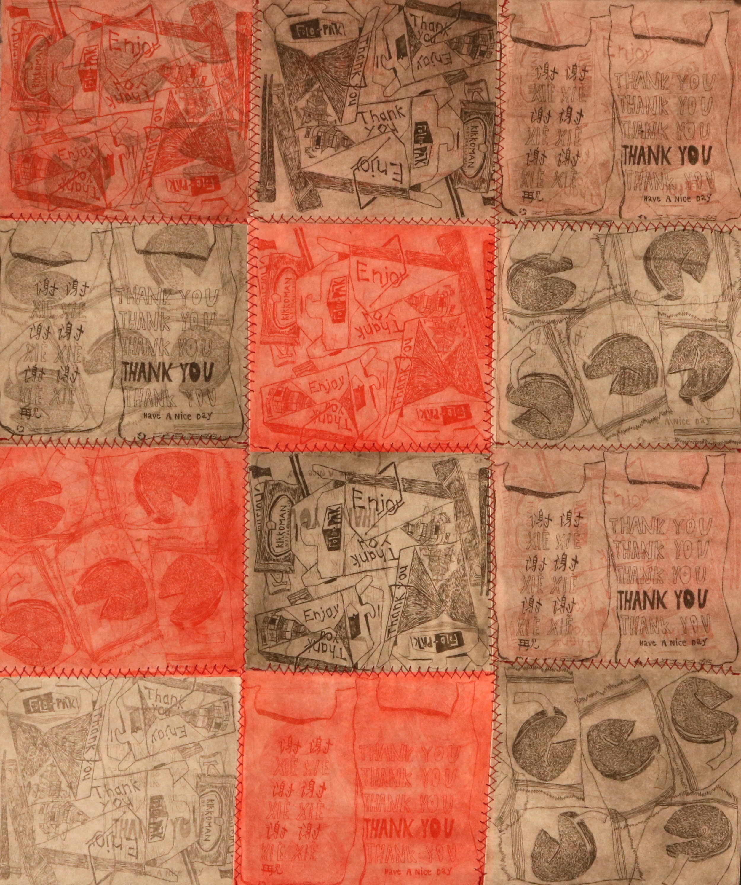 "Let's Eat! (a picnic) — detail    50"" x 51"", 3 plate copper intaglio etching, stitched on hosho paper, handmade mulberry paper, and handmade lama li paper, Artist Proof (AP) 1/1, Each individual plate = 4.5""x5""  November 2018"