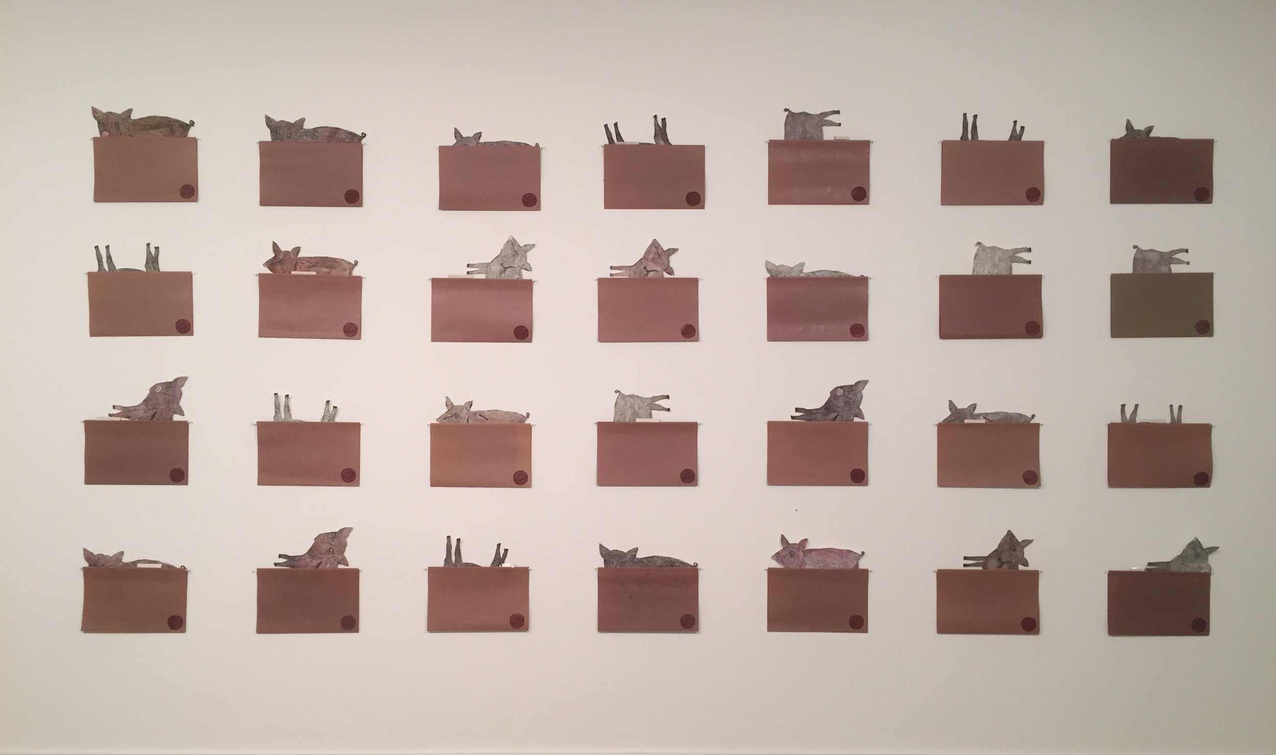 Adoption Files (1995, 2007, 2019)    Site specific installation— dimensions variable, 8' x 16', April 2018, hand colored intaglio etchings + linoleum block relief prints; brown manilla files with labels on okawara paper