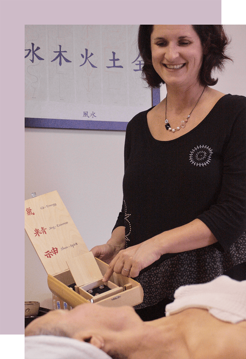 Opal Acupuncture session with patient and female acupuncturist Diana Horowitz