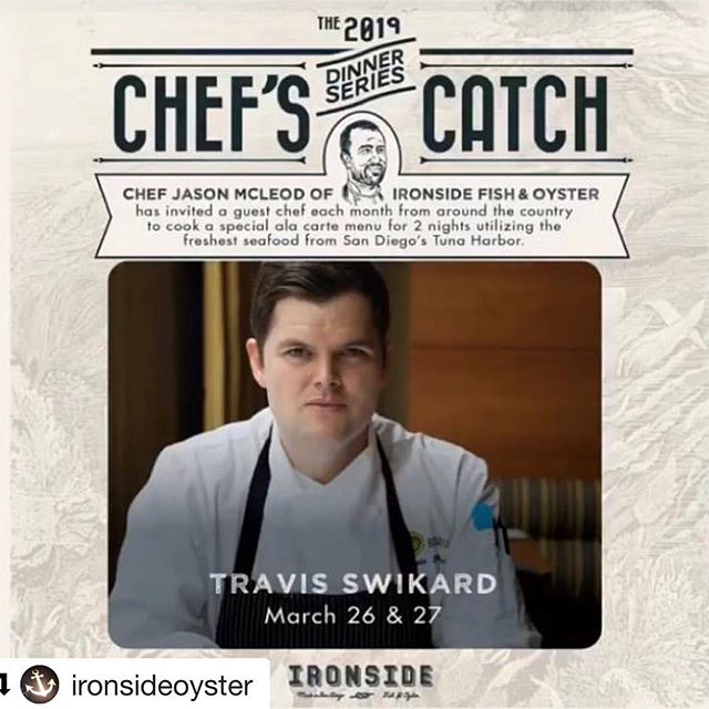 Very excited to cook @ironsideoyster with my new #sandiego compadres @mikeyreedy and @ironsidechef . This will be a preview of the cuisine of my restaurant featuring @tunaharbordocksidemkt local and sustainable seafood. Call and make your reservation for this Tuesday or Wednesday! Who's coming?? ・・・ We'll see you this Tuesday and Wednesday! Join us as @travisswikard joins us for another chef's catch dinner! - - #ironsidefishandoyster #ironside #guestchef #sandiego #littleitaly #sandiego