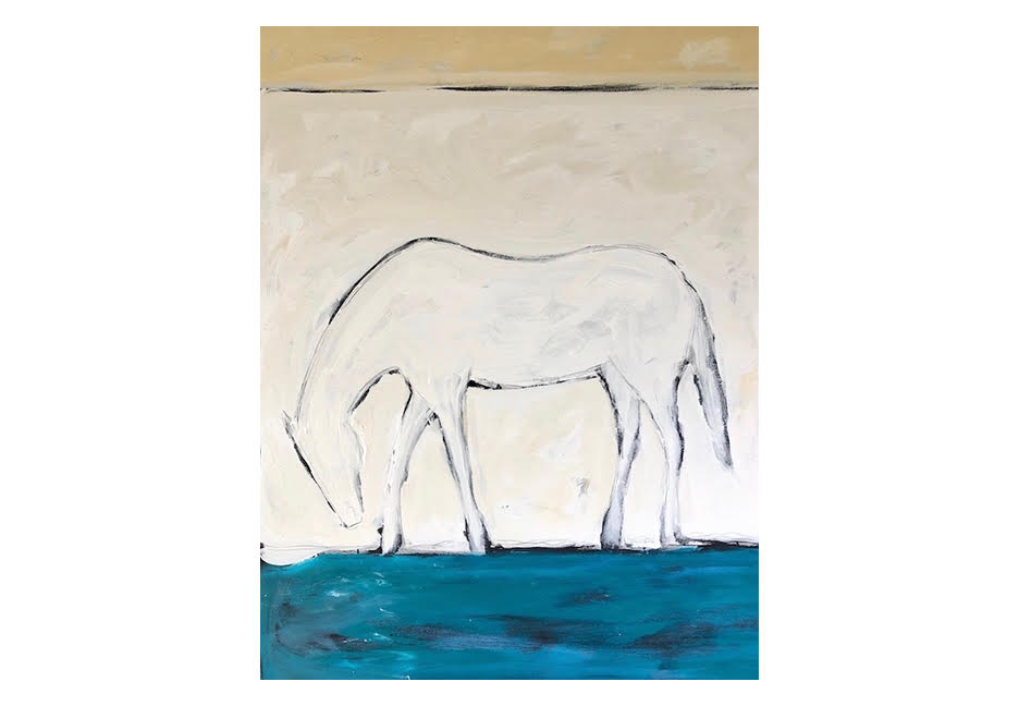 """White Horse by the Sea 48"""" x 60"""""""