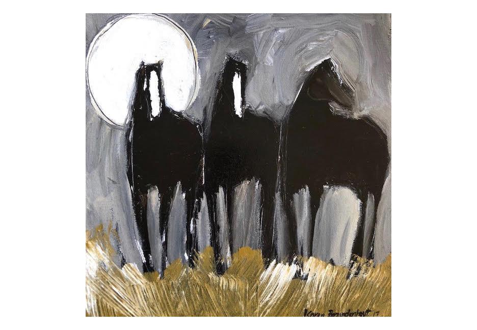 "Three Black Horses 36"" x 36"""