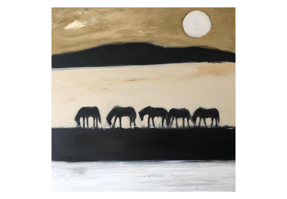 """Desert Horses 40"""" x 40"""""""