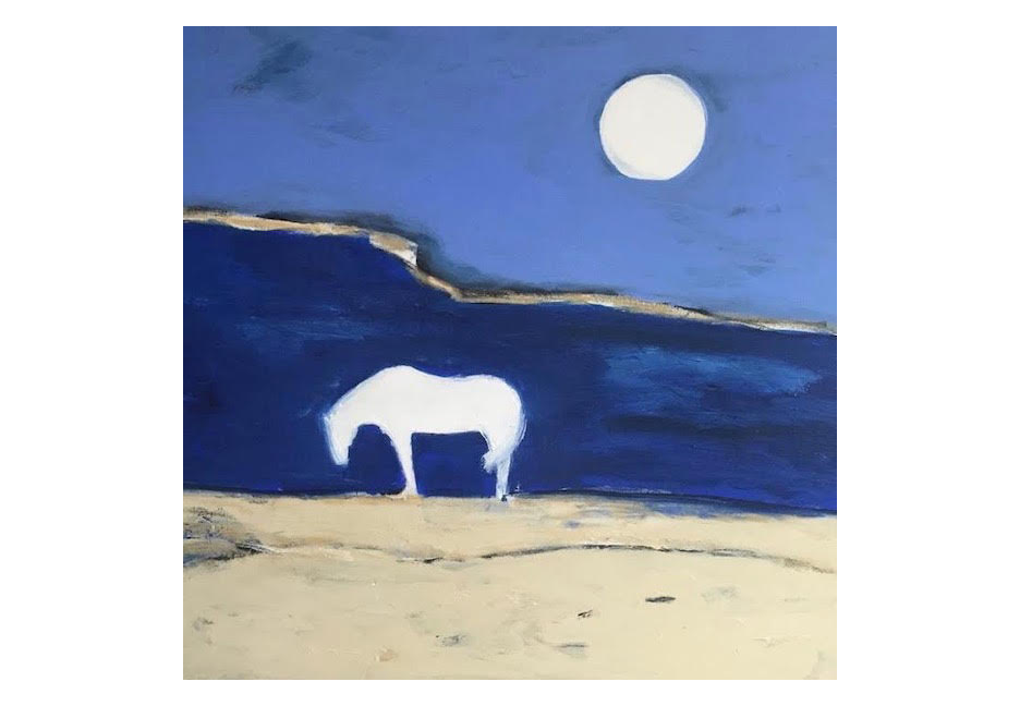 """White Horse and Moon 36"""" x 36"""""""