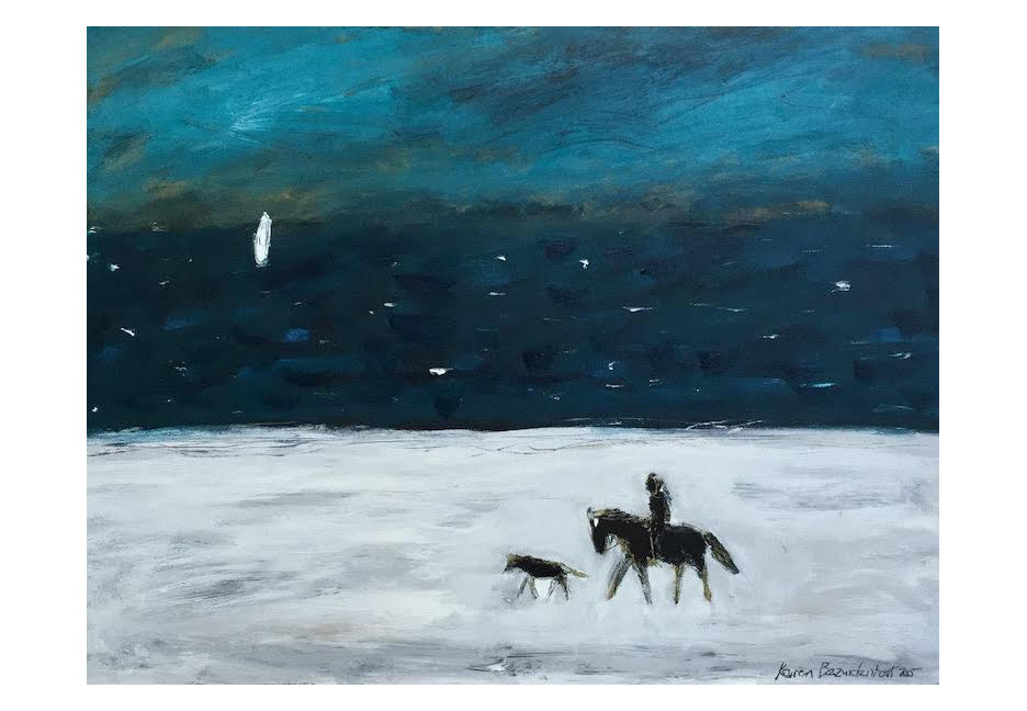"""Ride by a Turquoise Sea 40"""" x 30"""""""
