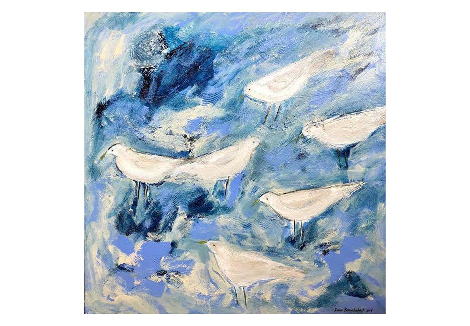 "White Birds on Blue 36"" x 36"""