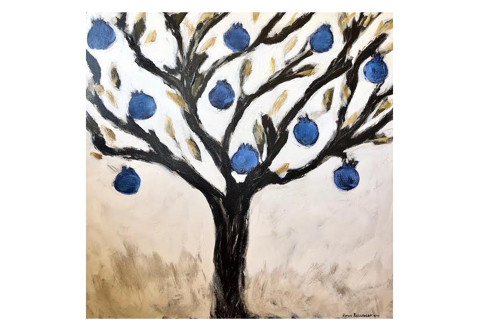 "Blue Pomegranates 48"" x 48"""