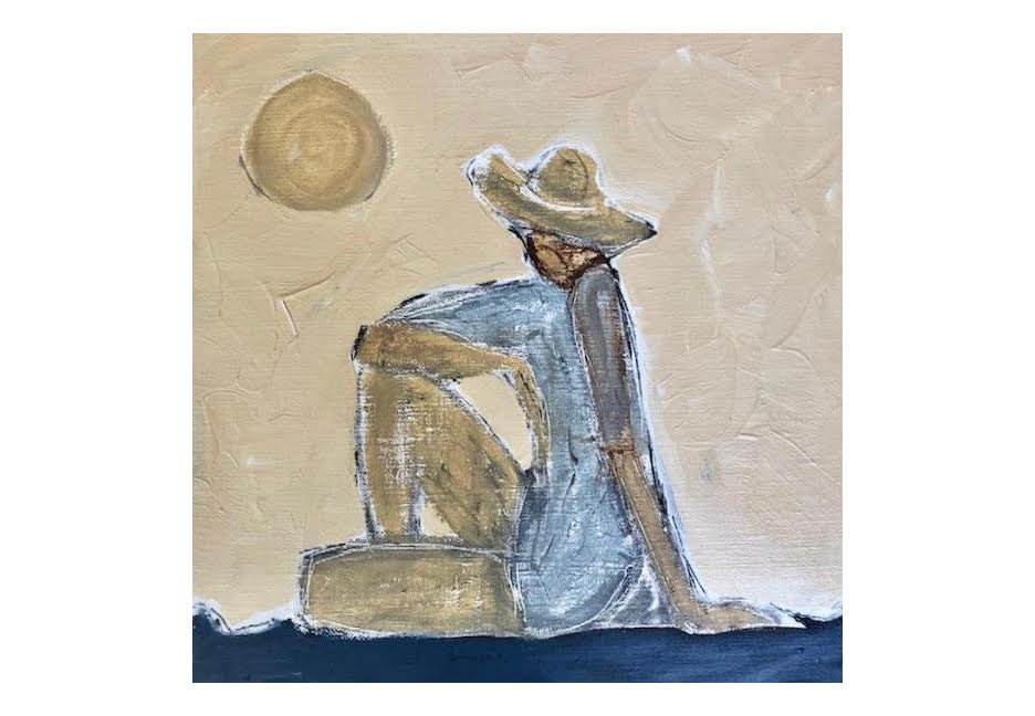 """Woman by the Sea 12"""" x 12"""""""