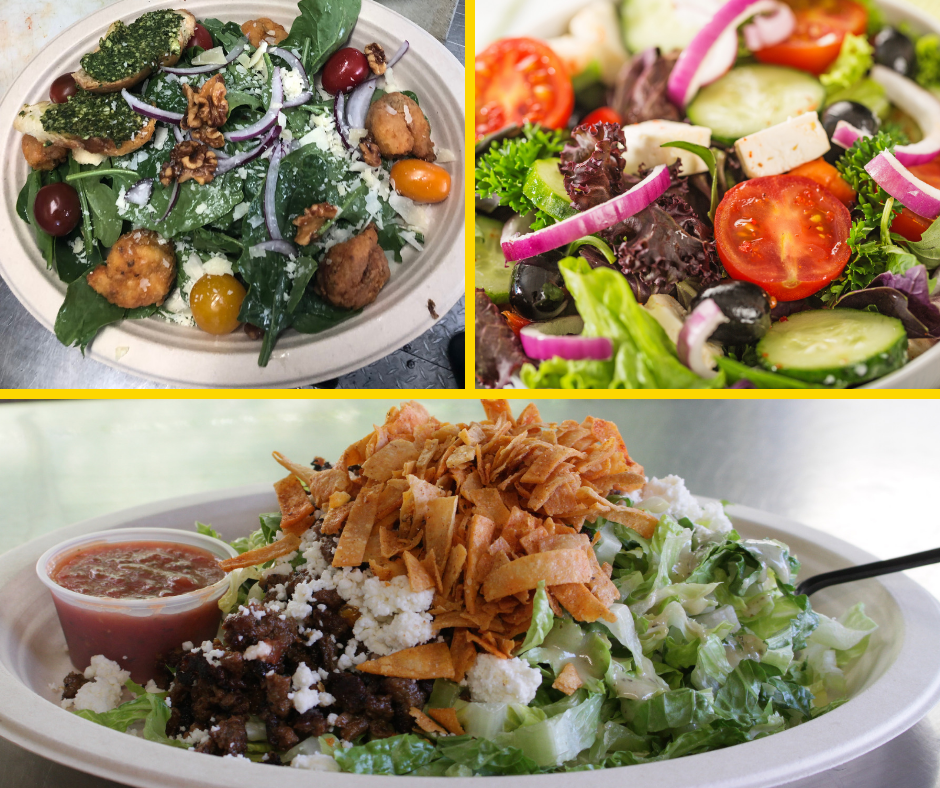 Fresh Salads - Tacohearts of romaine, red wine vinaigrette, Queso Fresco, salsa, fried tortilla strips, choice of veggie or proteinGreekhearts of romaine, red wine vinaigrette, feta cheese, olives, tomatoes, cucumbers, red onion, choice of veggie or proteinCeasarhearts of romaine, classic Ceasar dressing, parmesan, homemade croutons, herb chicken.Spinachbalsamic vinaigrette, goat cheese, toasted walnuts, strawberries, red onionArugulalemon basil vinaigrette, parmesan cheese, raddichio, Belgian endive, heirloom tomatoHydroponic butter lettucebuttermilk dressing, crispy fried chickenSuper greensradishes, scallions, carrots, cucumbers, toasted sunflower seeds, orange honey vinaigrettePastapenne pasta, fresh basil pesto. fresh seasonal veggiesTaboulehfresh couscous, fresh seasonal vegetables, light olive oil and lemon dressing.Grilled veggiesgrilled fresh seasonal vegetables, fresh herbs, lemon, olive oilDon't see a salad you like on this list just ask us. We can do most anything!