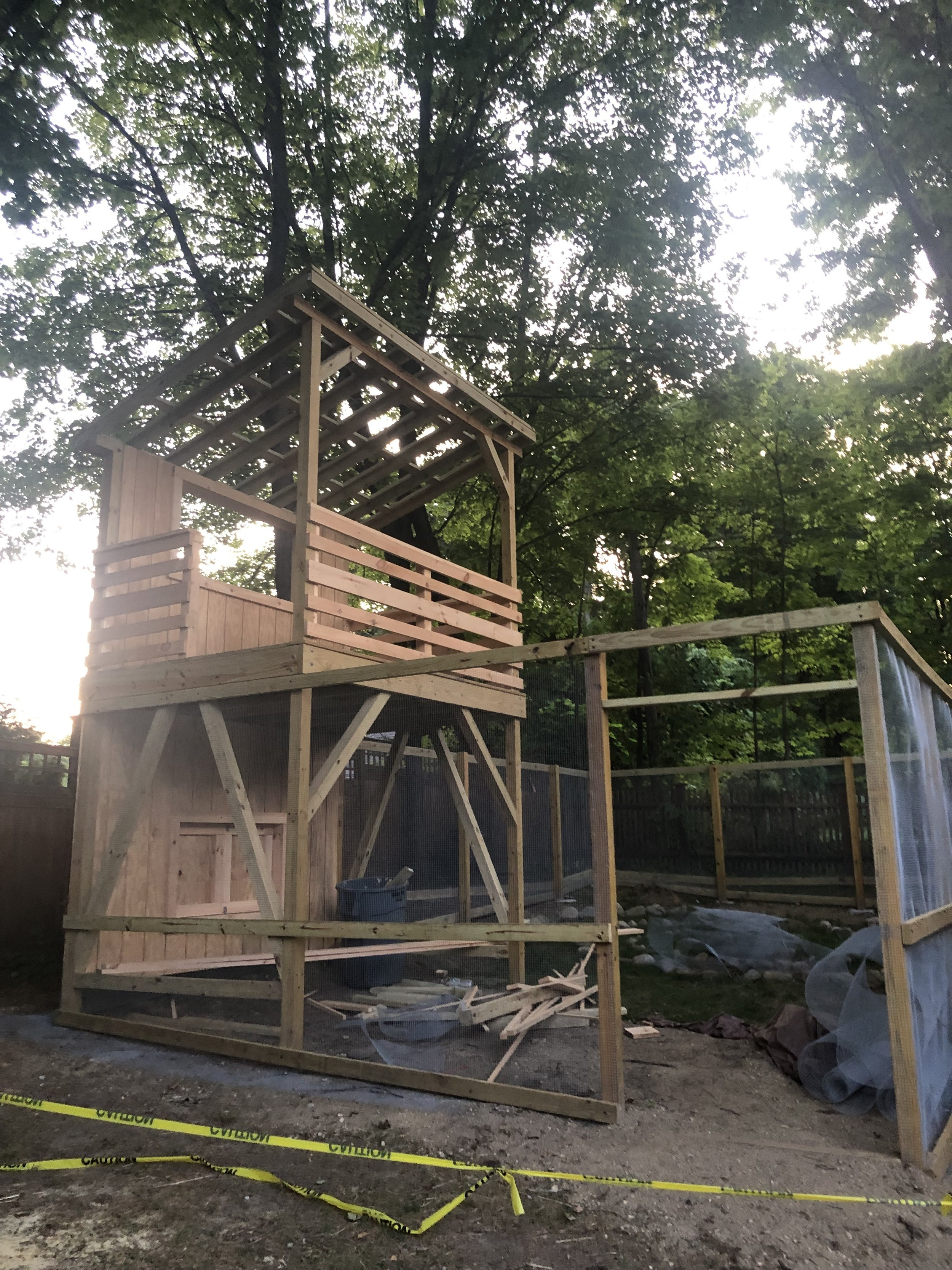 Grace's chicken run being constructed!