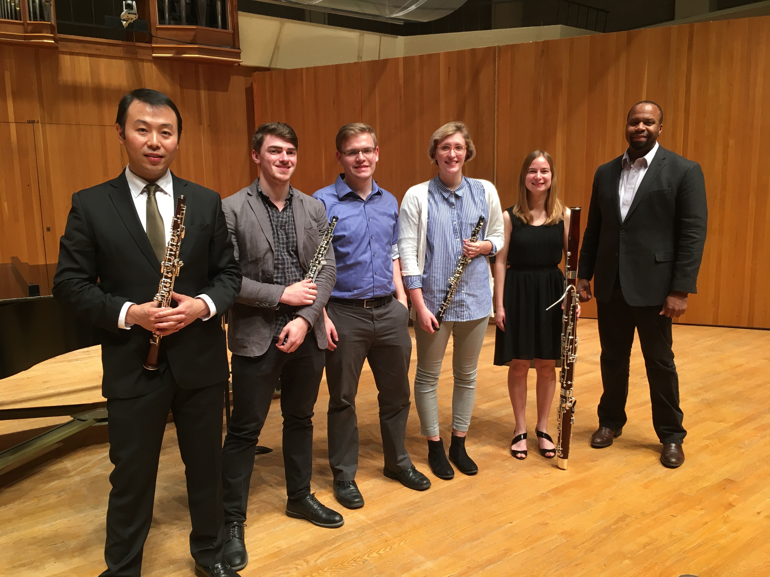 Liang Wang and Bryan Young of the Poulec Trio with Iowa State students in November 2016