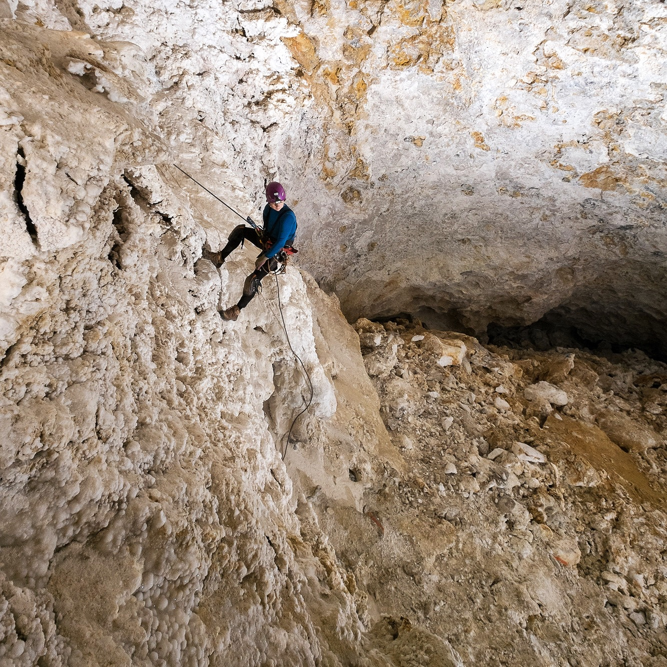 Vertical caving - Descending, ascending, and mid-rope maneuvers are important skills for exploration when the angle increases.