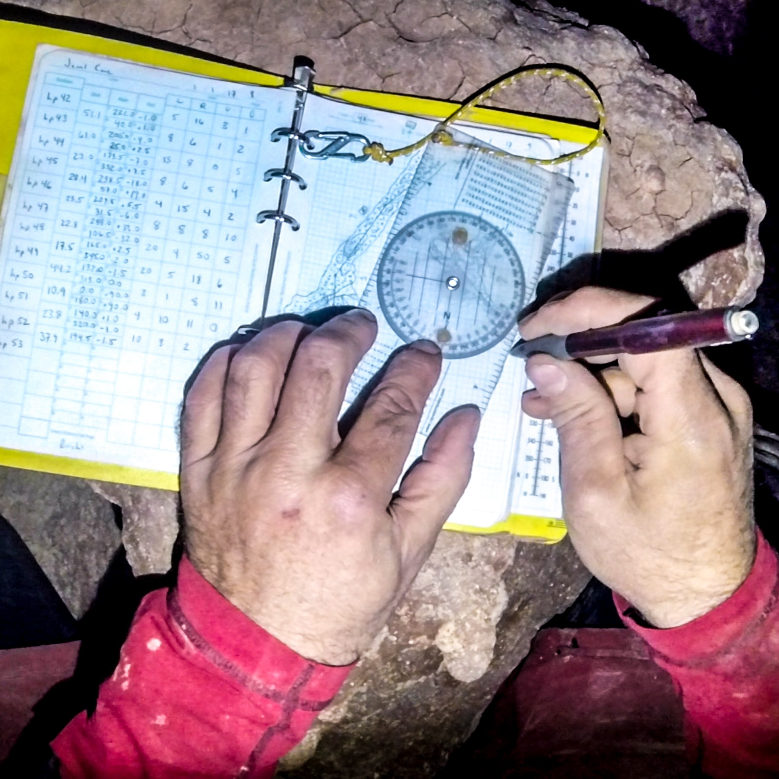 sketching - The most difficult cave survey task requiring the highest level of expertise and experience is sketching. Organizing the sketch book, structuring the sketching workflow, and gaining experience in the use of protractors or digital device software will improve proficiency.