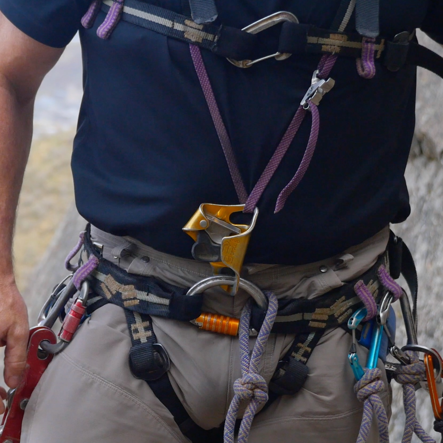 Frog system - The Frog ascending system was developed in France and is the standard in most of the world. It is light, fast at mid-rope maneuvers, and easy to wear while caving. It is not as efficient as ropewalking systems.