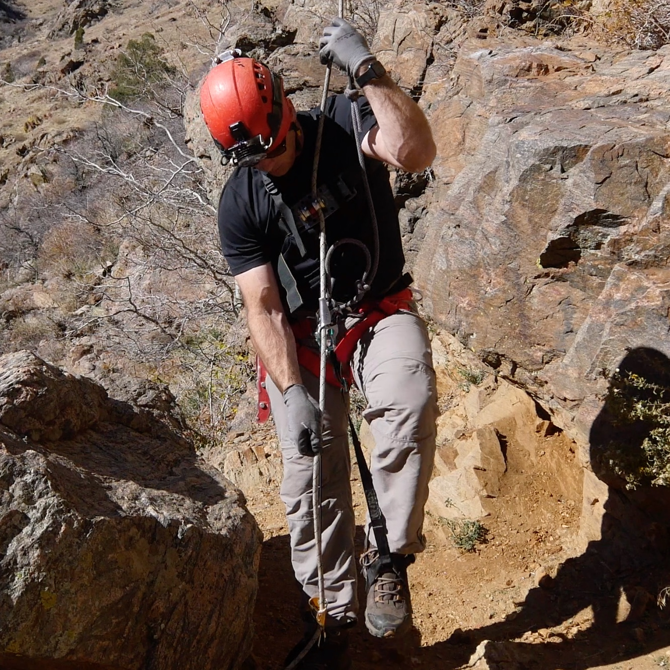 Ropewalker - The double-bungee ropewalker ascending system is complicated and heavy, but is the most efficient and fastest way to climb a free-hanging single rope.