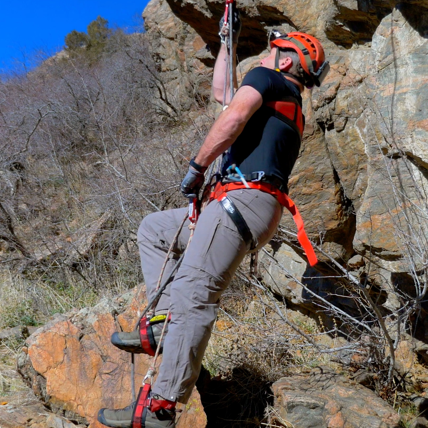 Mitchell system - The Mitchell system is a ropewalker system that is quicker to get on or off the rope, and faster at mid-rope maneuvers than a traditional Ropewalker system. It is also very fast and efficient at down-climbing.