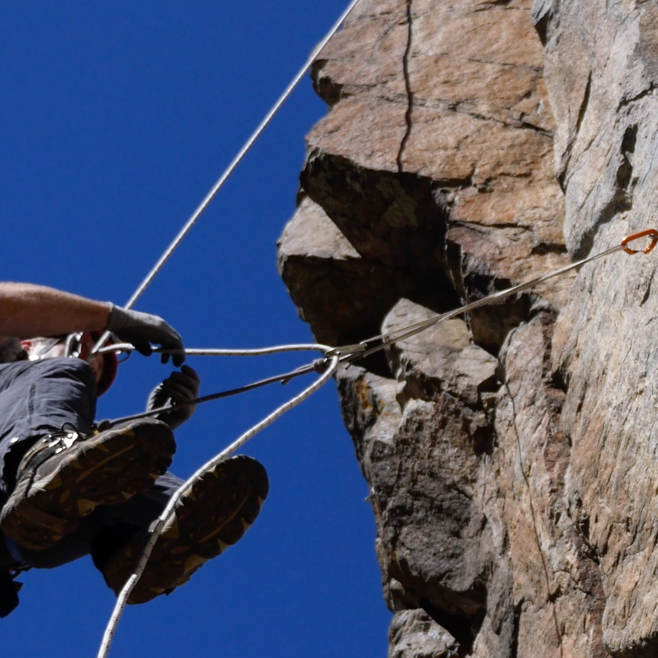 Deviations - Deviations are used in alpine rigging to direct the rope away from hazards such as edges, loose rock, and running water. Crossing them is usually straightforward, but there are a few tricks and techniques that will help.