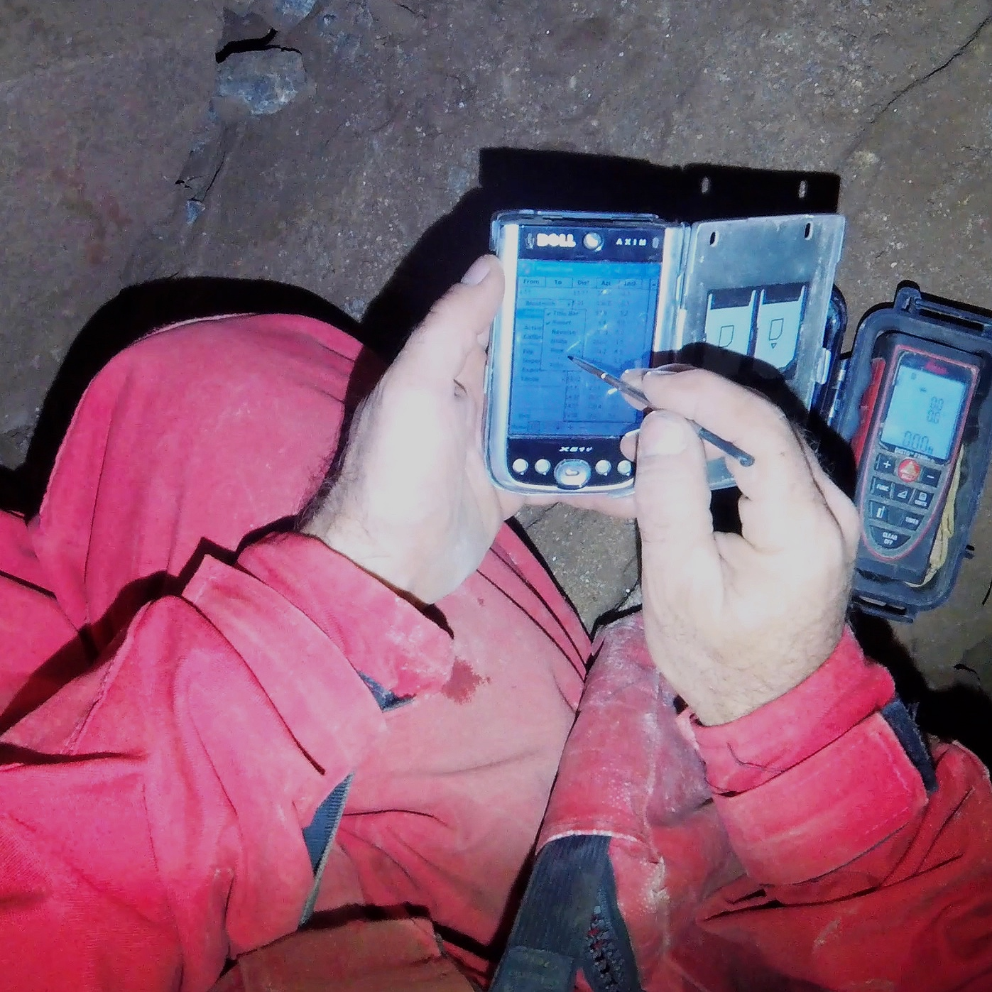 Electronic / digital cave survey - A Disto-X2 can be utilized with devices such as Android phones or tablets, Palm OS PDAs, or Windows Mobile devices to both capture survey data and create digital sketches underground.