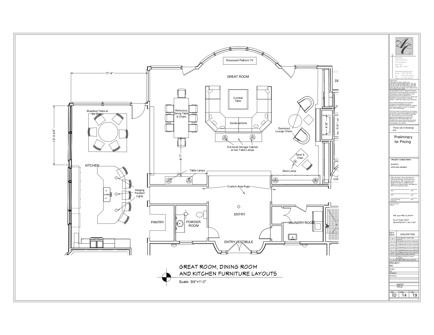 Proposed Great Room and Kitchen Furniture Layouts