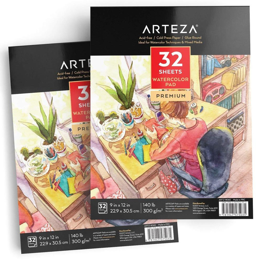 "Expert Watercolor Pads 9x12"" 32 Sheets - Set of 2, $26.99"